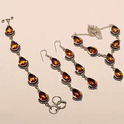 Faceted Citrine 925 Silver Plated Wholesale 3Pc Lot Earring-Necklace-Bracelet