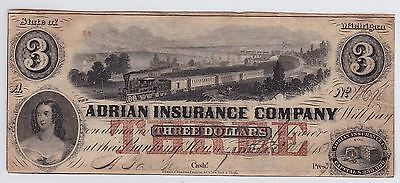 Three Dollars Us Adrian Insurance Compagny 1853