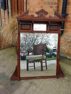 A GOOD SIZED 19thC ANTIQUE MAHOGANY OVERMANTLE WALL MIRROR