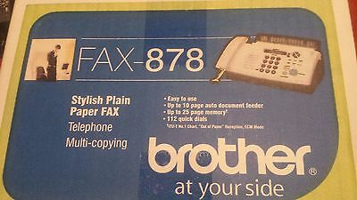 Brother 878 plain paper Thermal Fax machine 3 functions New in box