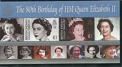 British Indian Ocean Territory Sgms352 80Th Birthday Of Qe2  M/s Mnh