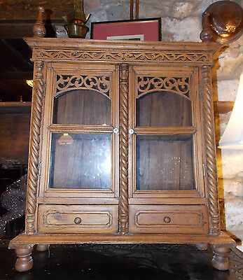 Antique style vintage Eastern / Chinese? glazed table top CABINET display curio