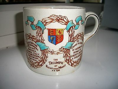 Ww1 Mug 'the Triumph Of Right Over Might' Grimwades Wwi Tank