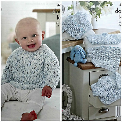 Baby KNITTING PATTERN Baby's Lacy Jumpers and Cardigans Smarty DK King Cole 4793