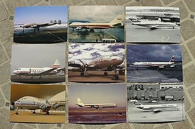 TWA TRANS WORLD AIRLINES POSTCARDS LOT OF 9 LOCKHEED BOEING 1960's