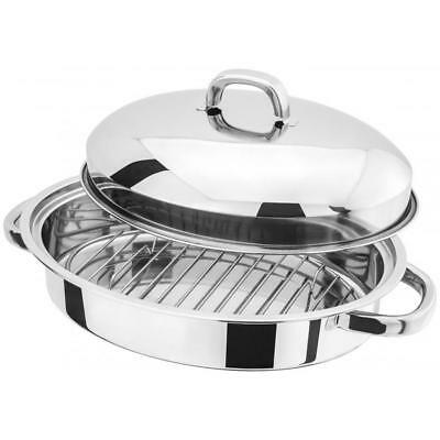 Judge Stainless Steel Oval Shallow Oven Roaster Domed Lid Pan - 32cm