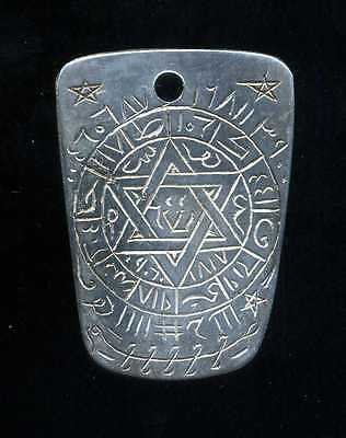 Morocco - JUDAICA - silver protective pendant plate engraved on both sides -