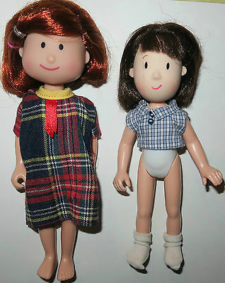 """Madeline Doll Lot 7"""" Red Plaid Dress 6"""" Red & Brown Hair Eden Toys Mini Doll"""