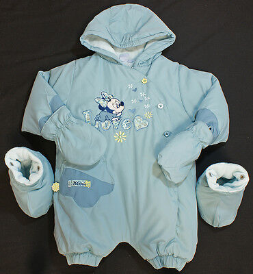 Snowsuit mitts mittens booties DISNEY Minnie Mouse baby girl AQUA 3m