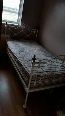 victorian cast iron antique large single bed