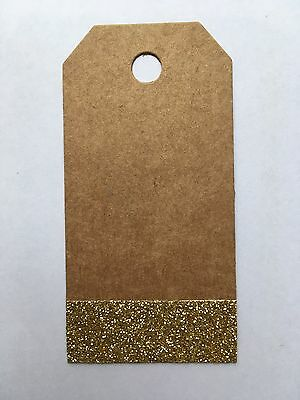 Kraft And Gold Glitter Card Christmas Wedding Luggage Label Gift Tags  X 10