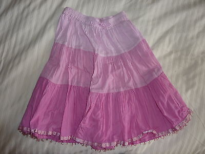 Monsoon 100% Cotton Pink Layered Crinkle Skirt Age 3 - 4 Sequins Sparkly