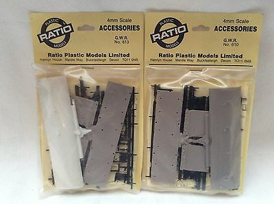 RATIO 4mm / 00 GAUGE PAIR OF GWR WAGON CHASSIS KITS - NO.610 / 613 - SEALED