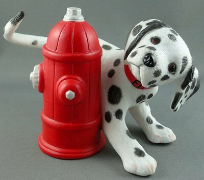 Figurine 101 Dalmatian Fireman Dog 4in Hide n Seek 1994 Fire Hydrant Porcelain