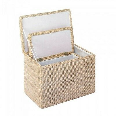 2PC Fabric-Lined Wicker Nesting Storage Trunk Set Natural NIB