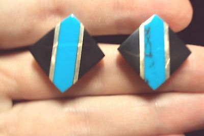 turquoise + black inlay diamond shaped 925 sterling silver stud earrings Mexico