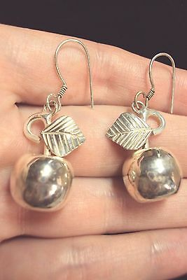 little shiny apple cherry + leaf 925 silver wire dangle earrings apples Mexico