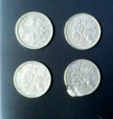 VINTAGE Sixpence coins. FOUR. 1954-1967