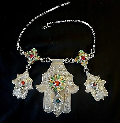 Morocco - Berber tribal necklace with 3 hands of Fatima in silver with enamel