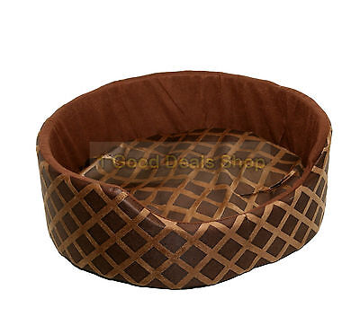 Round Washable Pet Dog Puppy Cat Bed Cushion Soft Warm Basket Brown Small
