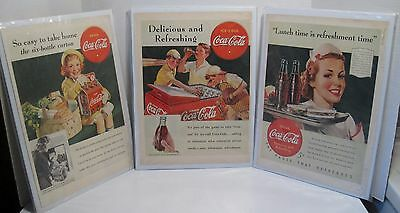 Lot of 3 1940s Coca Cola Magazine Ads-Boys, Waitress, Little Girl