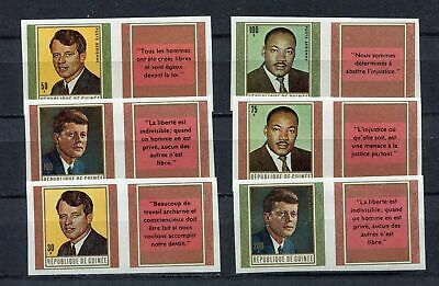 s12289) GUINEA GUINEE1968 MNH** Kennedy M.L.King 6v with label IMPERFORATED