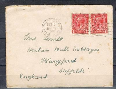 GV 1d X 2 used on 1922 cover from cristobal canal zone to suffolk