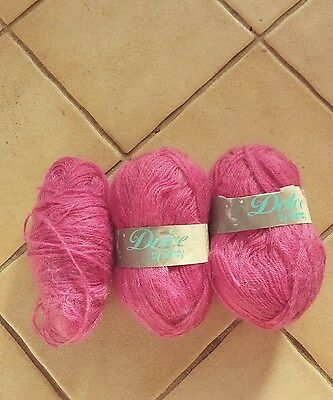 3 BALLS OF DOLCE WOOL IN PINK TOTAL WEIGHT 150grms