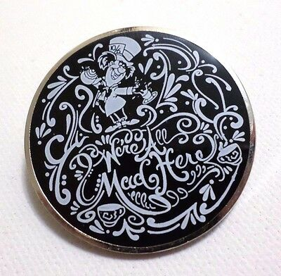 MAD HATTER Tea Party Disney Alice in Wonderland black and white sketch pin