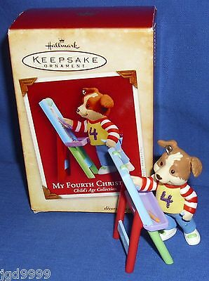 Hallmark Ornament Child's Age My Fourth Christmas 2004 Boy Puppy Dog Easel Used