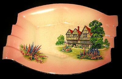 Pink Dish Porcelain Royal Winton Grimwades Old English Manor House Motif England