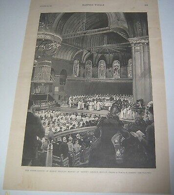 1891 Full Page Print Harper's Weekly Consecration of Bishop Phillips Brooks