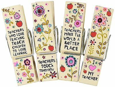 Natural Life Chip Clip Set of 4 Teachers Sentiment Stunning with Bling