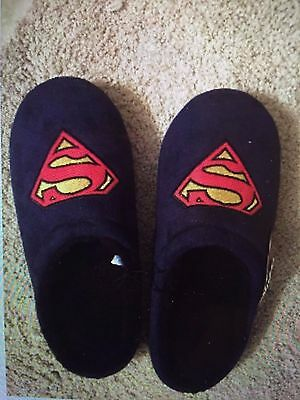 Men's navy Superman slippers warm size XL brand new