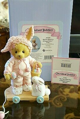Cherished Teddies On the Hunt for a Happy Easter Linley Bear with Bunny Figurine