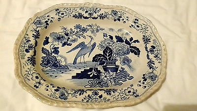Interesting Antique Blue and White Transferware Serving Platter. V G Condition.