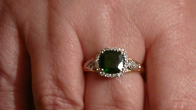 Bague Chrome Diopside + 36 Saphirs En Or 375/1000 - Taille 56
