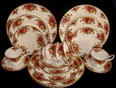 Estate 20 Pc England 1st Quality Royal Albert Old Country Roses Dinner Set