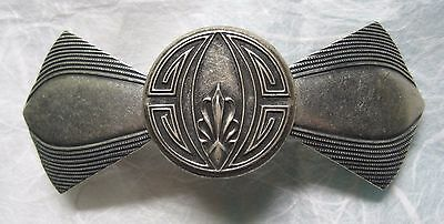 Vintage Hair Barrette - Art Deco Style - Silver Plate - Handcrafted - 3 inch