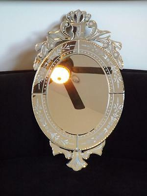 """Venetian Glass Oval & Bevelled Shabby Chic French Etched Mirror 32x19"""" EXC"""