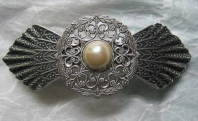 Vintage Hair Barrette - Victorian Style -Antiqued Silver - Handcrafted - 3 inch