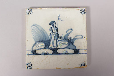 Antique Delft Blue and White Tile Shepherdess in Renaissance Dress and Sheep
