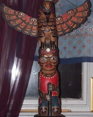 QUALITY 820mm HAND CARVED WOOD REPRODUCTION NATIVE AMERICAN EAGLE MAN TOTEM POLE