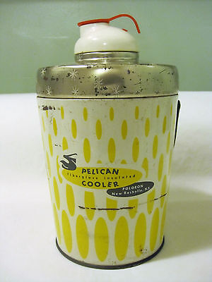 Vintage Yellow Pelican Fiberglass Insulated Cooler Thermos Hazel Atlas Liner HTF