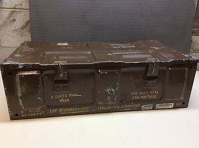 Vintage Army Military Large Metal Ammo Canon Box