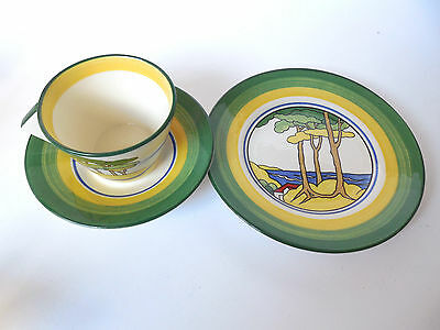 Mint Wedgewood Clarice Cliff cup and saucer and plate hand painted firs RARE