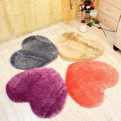 Love Heart Soft Plush Carpet Bathroom Bedroom Floor Shower Mat Non-slip Rug 40cm