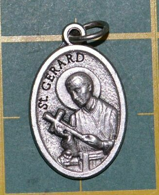 SAINT GERARD Medal Pendant, SILVER TONE, 22mm X 15mm, MADE IN ITALY