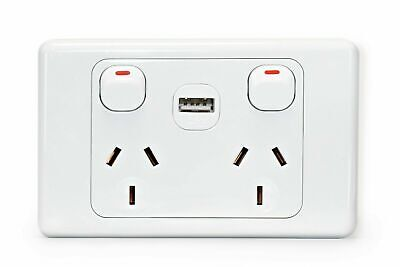 Double USB Power Point GPO 10A Home Plug Socket Switch Wall outlet Power Supply