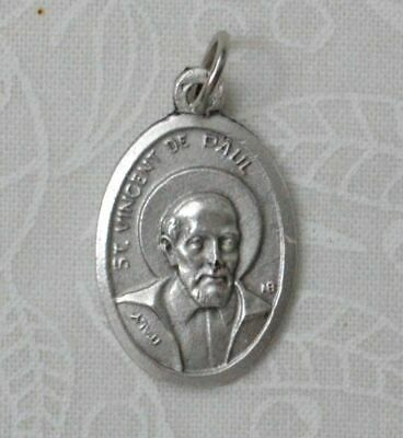 SAINT VINCENT DE PAUL Medal Pendant, SILVER TONE, 22mm X 15mm, MADE IN ITALY